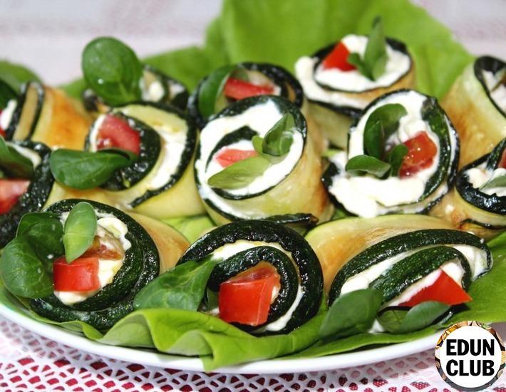 Rolls of zucchini